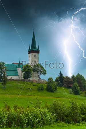 Storm with lightning in old village church