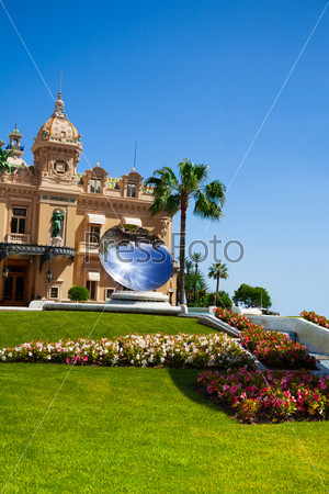 Casino facade and mirror dish monument in Monaco,