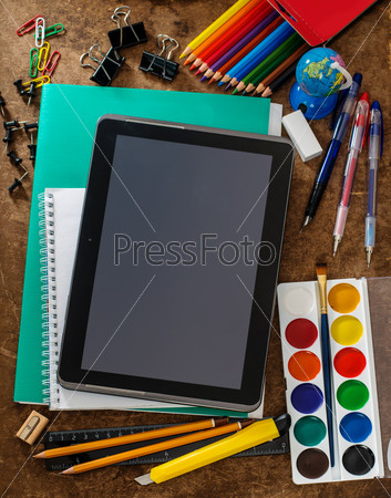 Modern school background with tablet