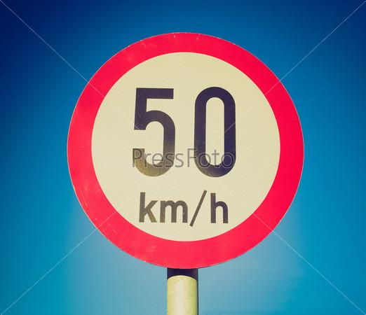 Retro look Speed limit sign
