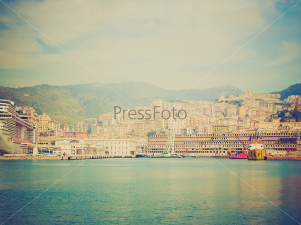 Retro look View of Genoa Italy from the sea