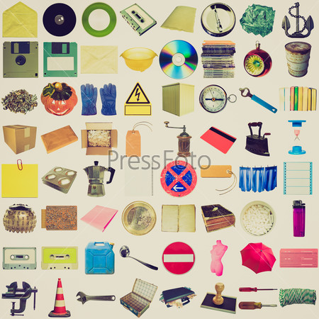 Retro look Many objects isolated