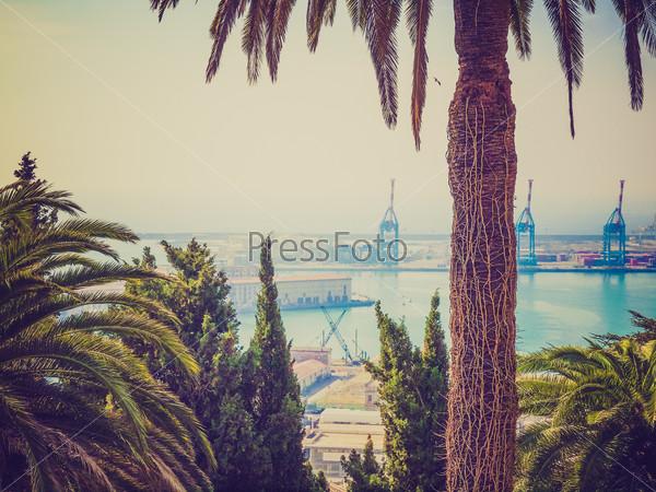 Retro look Harbour Genoa Italy