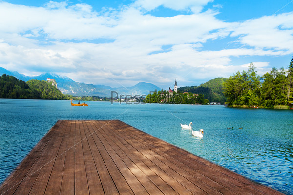 Wood pier on Bled lake