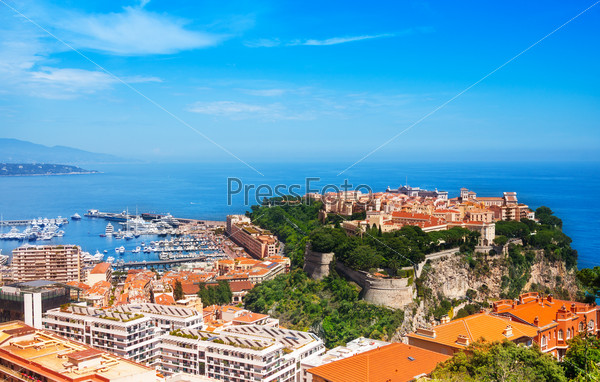 Old city peninsula with prince palace in Monaco