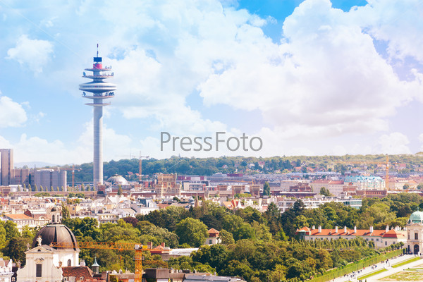 Vienna TV tower cityscape