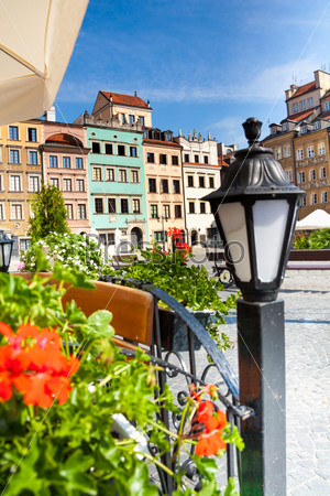 Cozy old town square in Warsaw