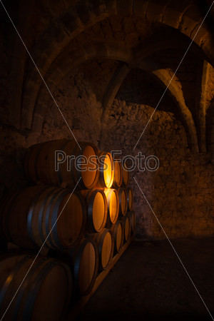 Wooden barrels of wine