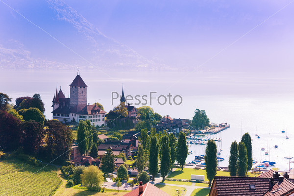 Spiez castle on Thun lake