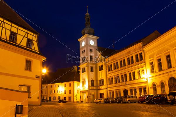 Loket main square and church at night
