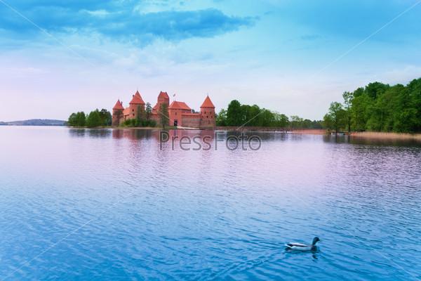 Panorama of Trakai castle and lake Galve