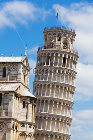 Leaning tower in Pisa and part of Cathedral