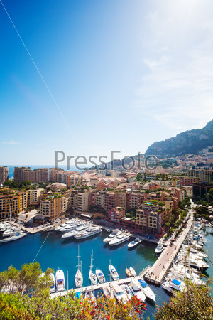 Marina, yachts and luxury district in city of Monaco