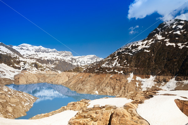 Snow is still melting Emosson dam