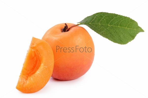 Fresh apricot with a leaf