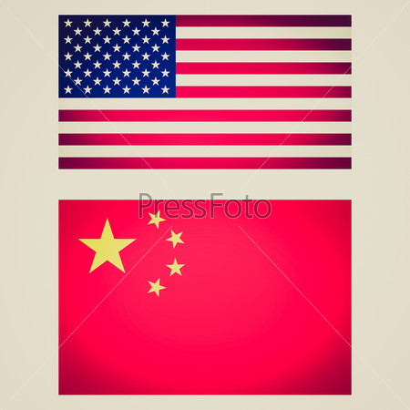 Retro look USA China flag vignetted illustration
