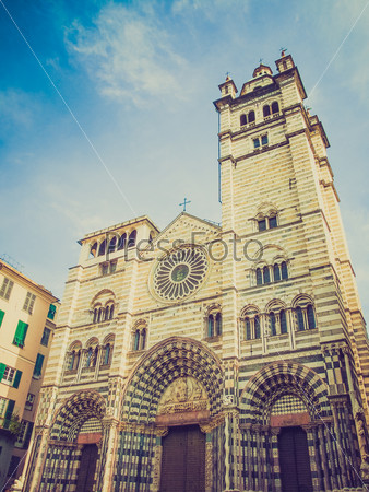Retro look St Lawrence cathedral in Genoa