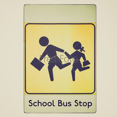 Retro look School bus stop sign
