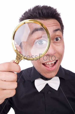 Funny man with magnifying glass