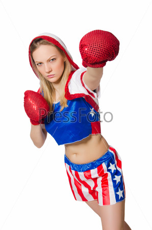 Female boxer isolated on the white background