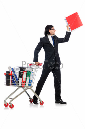 Man with business folders isolated on white