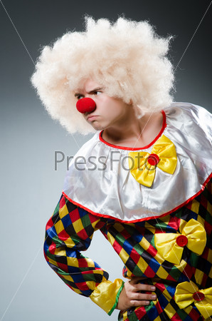 Funny clown in the studio
