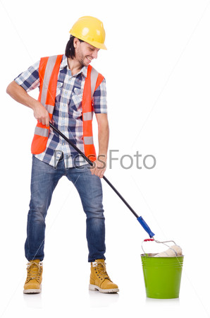 Painter isolated on the white background