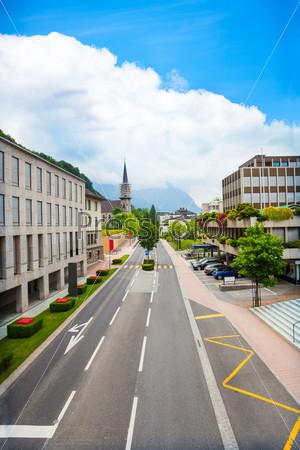 Green and beautiful streets of Vaduz, Liechtenstein