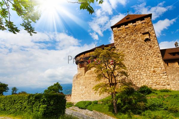 Vaduz castle walls and towers in Liechtenstein