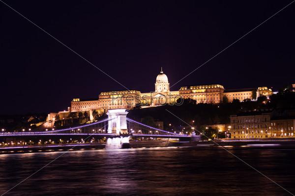 Buda Castle with Chain bridge at night