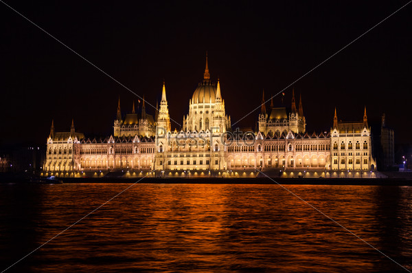 View of parliament from Danube river at night