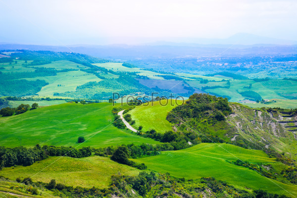 Tuscany landscape from top Italy