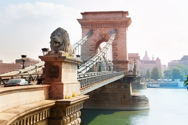 Chain bridge with monument of lion in Budapest