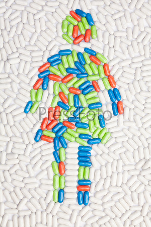Woman symbol put of pills and drugs