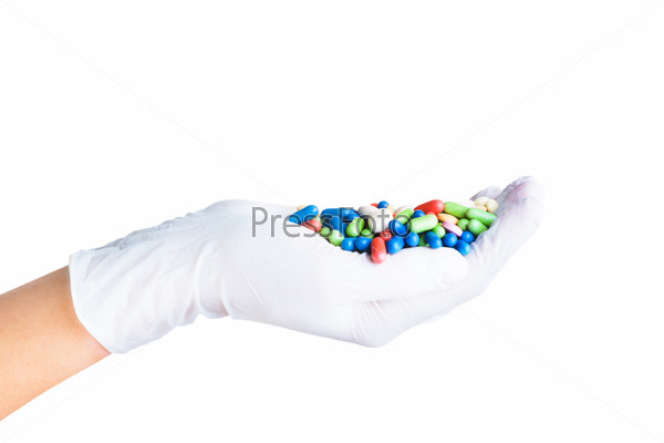 Glove with different pills