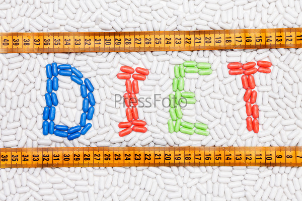 Diet text made of drugs with centimeter