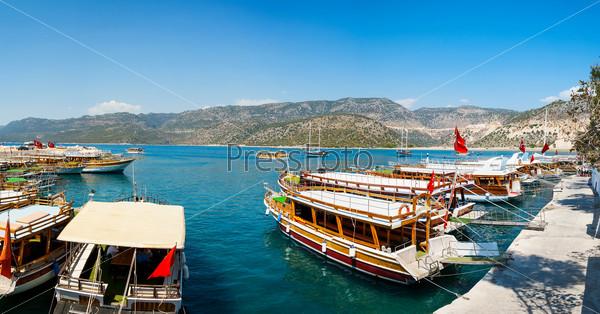 Turkish coast, yachts, panorama