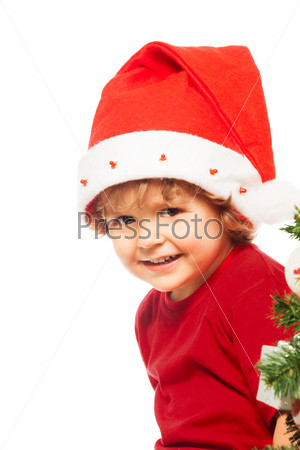 Boy wearing Christmas hat
