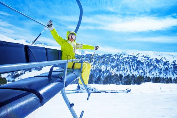 Enjoying mountain skiing
