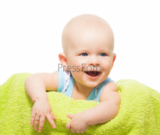 Laughing baby portrait