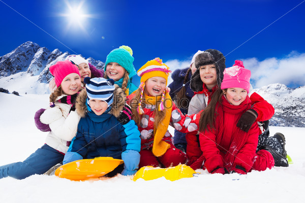 Group of kids on snow day
