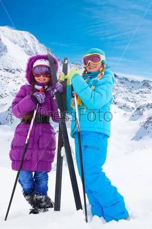 happy cross country ski girls