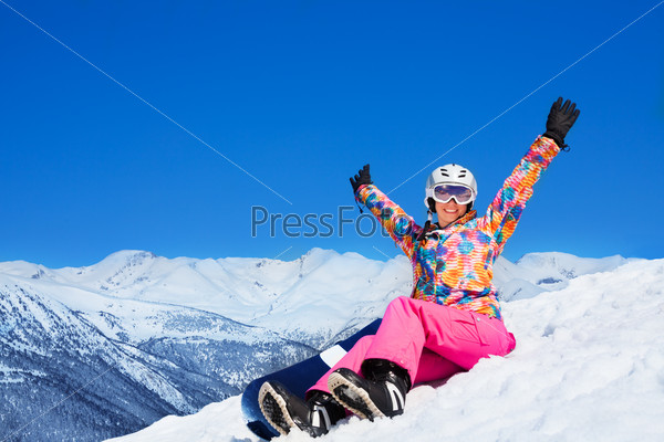 Happy snowboard woman