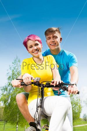 Happy couple on the bike