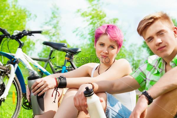 Couple with bikes