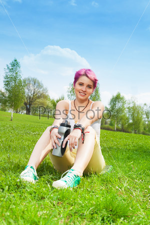 Happy jogger woman