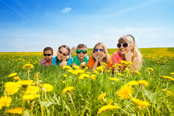 Kids in flowers