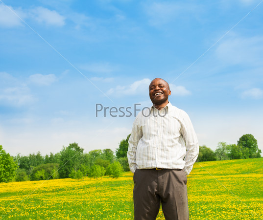Laughing confident black man