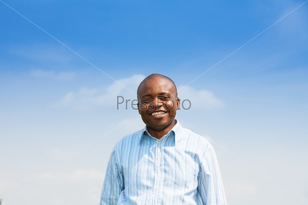 Happy black man with toothy smile