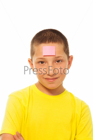 Boy with sticker
